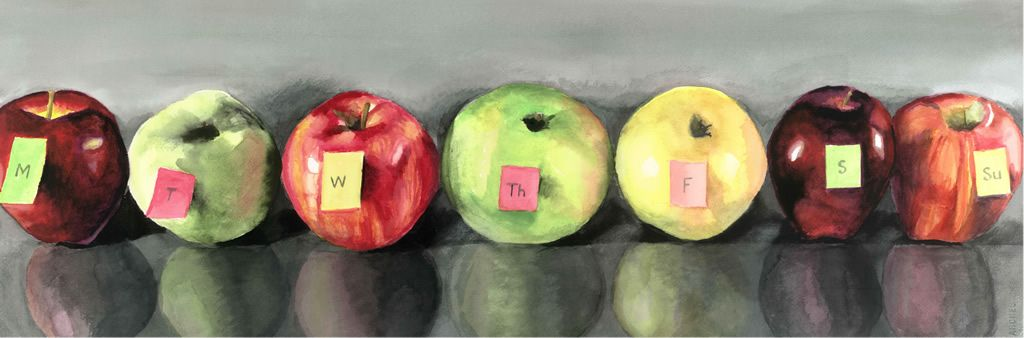 """<strong>One Bad Apple a Day</strong><br> """"According to doctors, one bad apple a day  spoils the whole cart,"""" Ed Martel confidently stated. <br/> """"No,"""" his wife sighed.<br/> """"More than one apple a day? """""""
